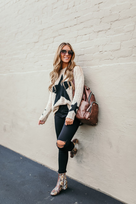 Two Tone Star Sweater - Taupe/Black