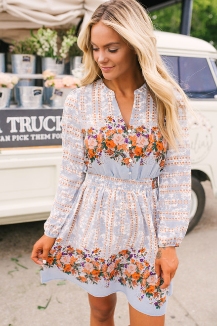Autumn Bouquet Floral Dress - Blue Multi
