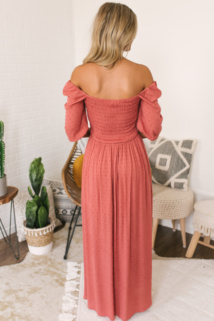 Square Neck Smocked Dotted Maxi - Persimmon