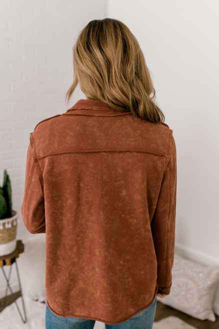Vintage Wash Draped Terry Jacket - Rust