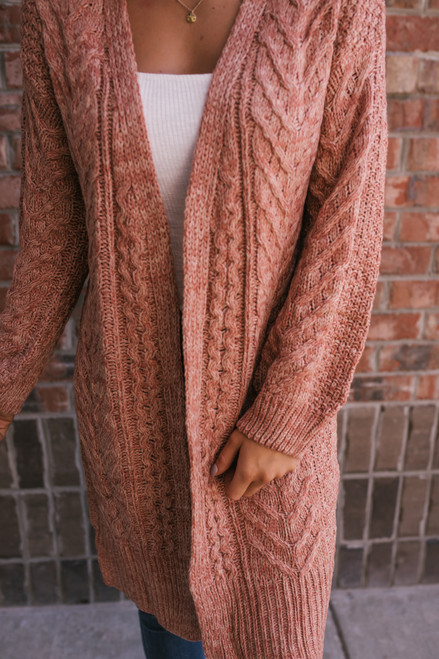 Two Tone Cable Pocket Cardigan - Rust  - FINAL SALE