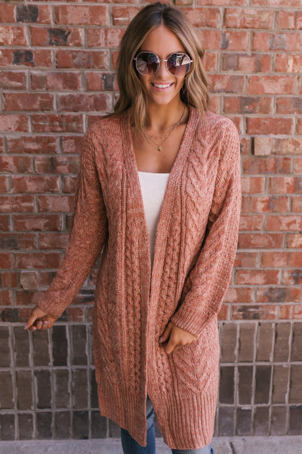 Two Tone Cable Pocket Cardigan - Rust