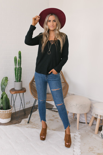 V-Neck Long Sleeve Lace Detail Tee - Black  - FINAL SALE