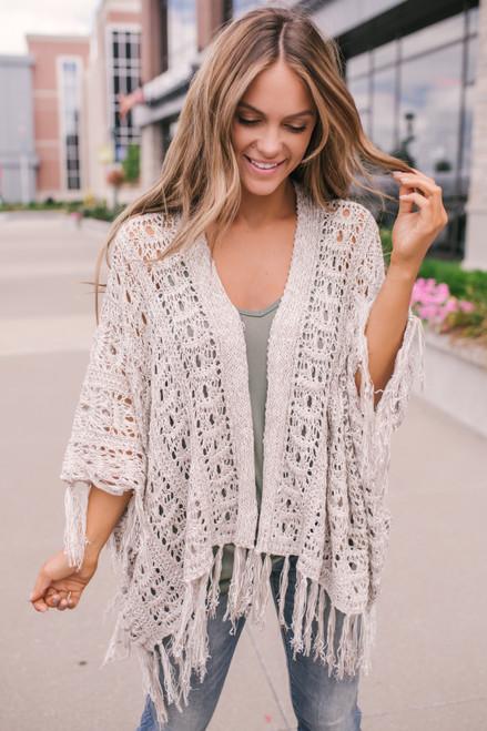 Crochet Fringe Kimono Cardigan - Taupe - FINAL SALE