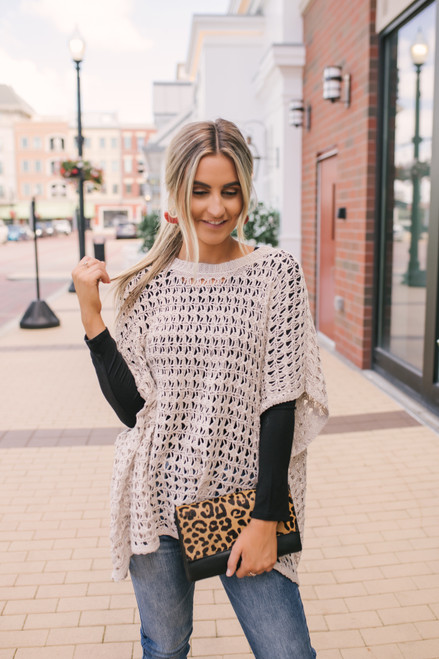 Open Knit Poncho Pullover - Taupe
