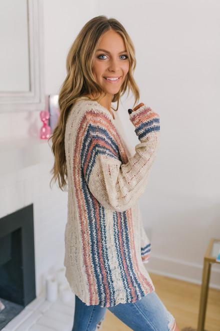 Open Knit Baja Striped Sweater - Oatmeal Multi - FINAL SALE