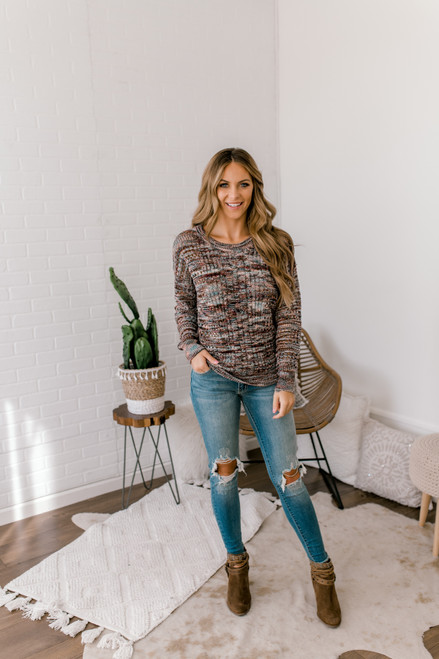 Open Knit Cable Knit Sweater - Burgundy Multi