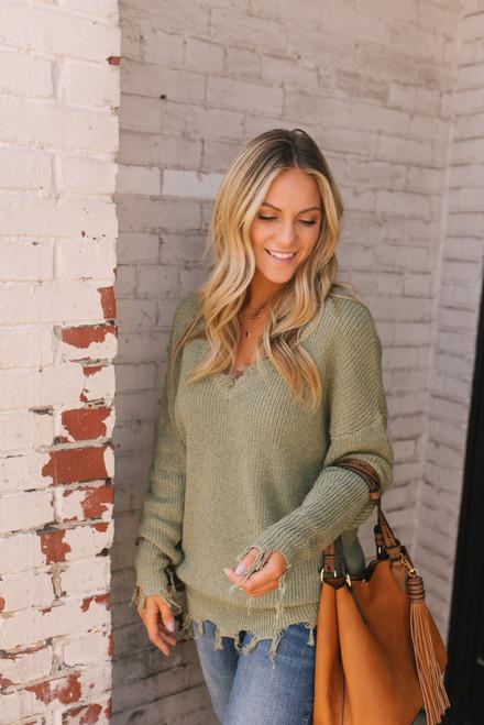 V-Neck Frayed Sweater - Olive - FINAL SALE