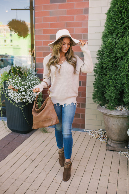 V-Neck Frayed Sweater - Taupe
