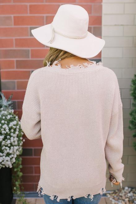 V-Neck Frayed Sweater - Taupe - FINAL SALE
