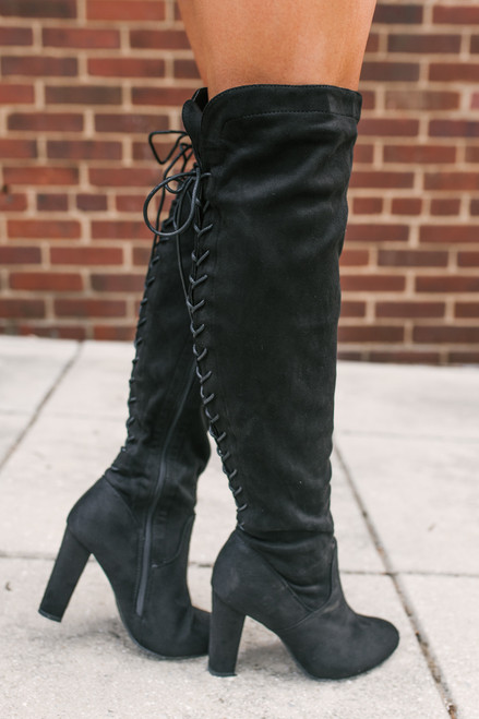 Faux Suede Thigh High Lace Up Boots - Black - FINAL SALE