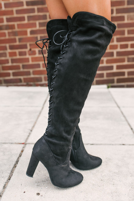 Faux Suede Thigh High Lace Up Boots - Black