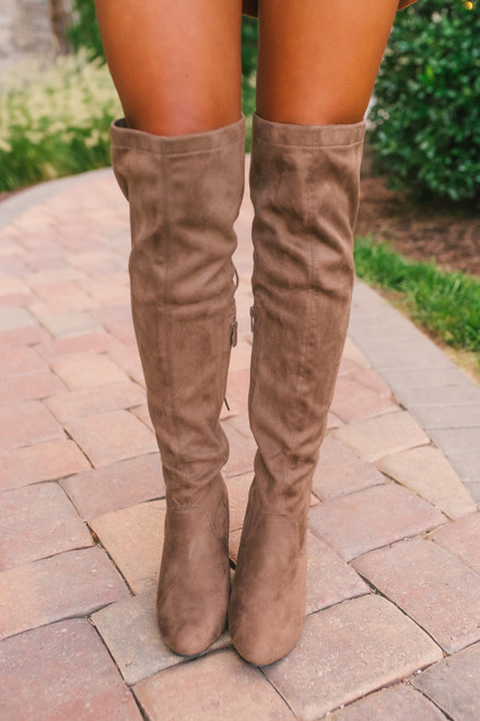 Faux Suede Thigh High Lace Up Boots - Taupe - FINAL SALE