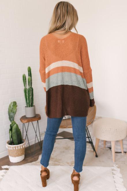 Fall Retreat Colorblock Cardigan - Brick Multi