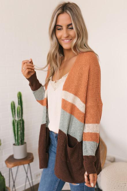 Fall Retreat Colorblock Cardigan - Brick Multi  - FINAL SALE