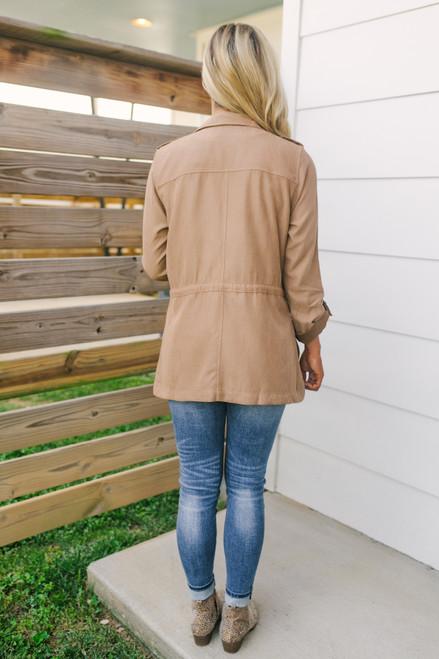 Drawstring Cargo Peach Skin Jacket - Taupe