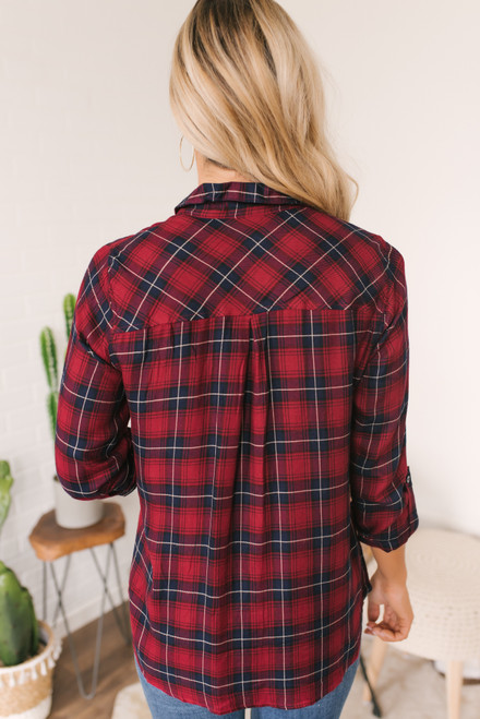Roll Tab Button Down Plaid Shirt - Red Multi