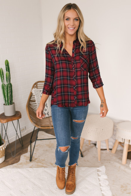 Roll Tab Button Down Plaid Shirt - Red Multi  - FINAL SALE