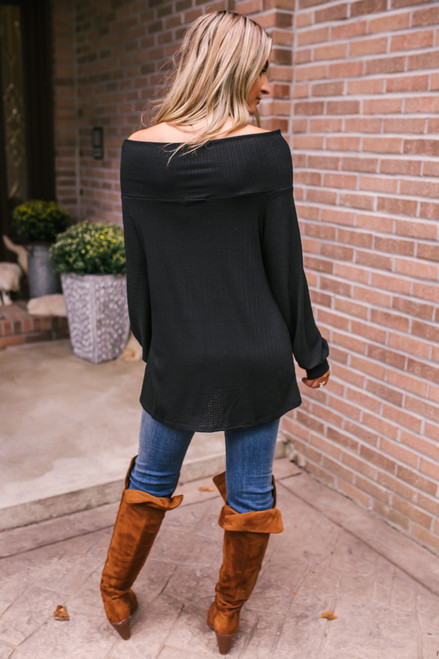 Off the Shoulder Textured Top - Black - FINAL SALE