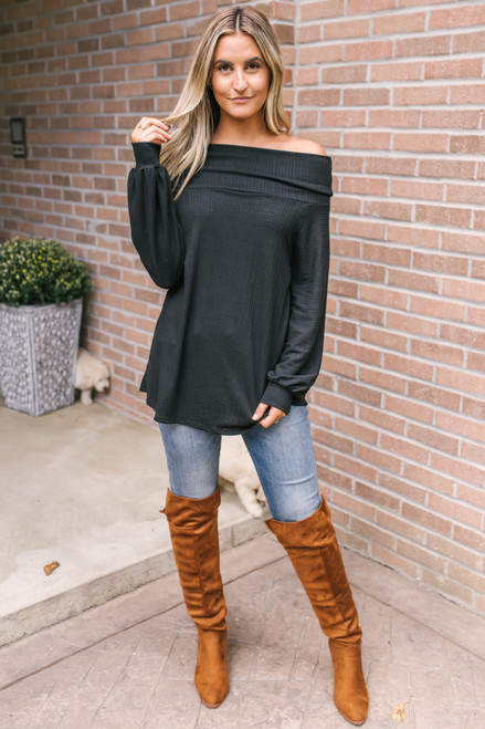Off the Shoulder Textured Top - Black