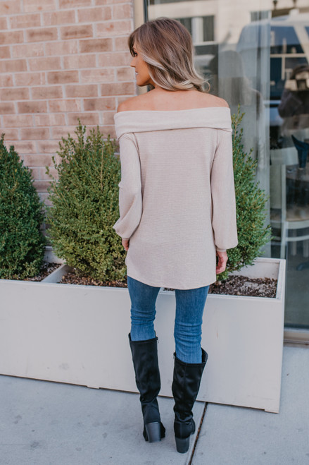 Off the Shoulder Textured Top - Oatmeal - FINAL SALE