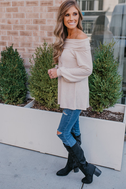 Off the Shoulder Textured Top - Oatmeal