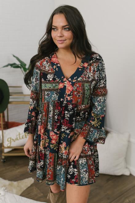 V-Neck Floral Patchwork Dress - Teal Multi