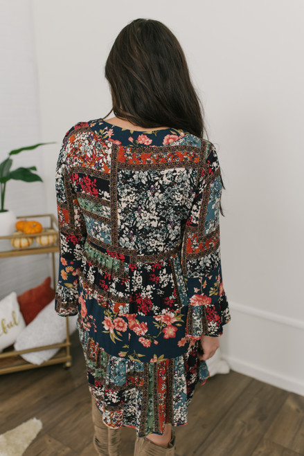 V-Neck Floral Patchwork Dress - Teal Multi - FINAL SALE