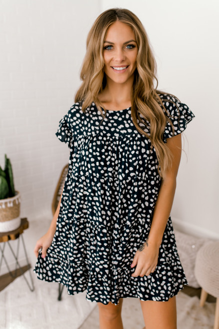 Ruffle Sleeve Tiered Dotted Dress - Navy/White