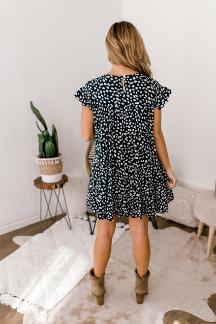 Ruffle Sleeve Tiered Dotted Dress - Navy/White - FINAL SALE