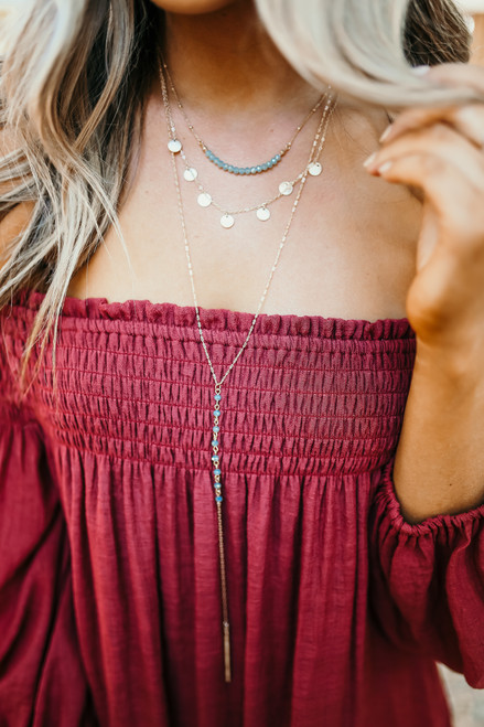 Layered Dotted Lariat Necklace - Mint/Gold