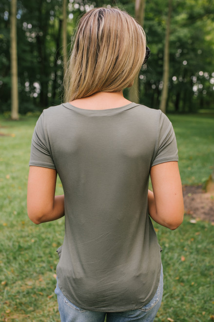 Nadine V Neck Tee - Army Green