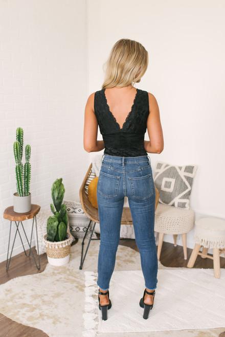 V-Neck Scalloped Lace Bodysuit - Black - FINAL SALE