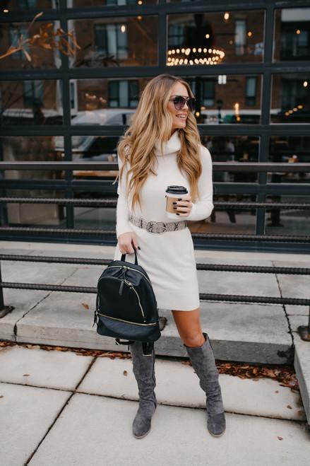 Turtleneck Sweater Dress - Ivory