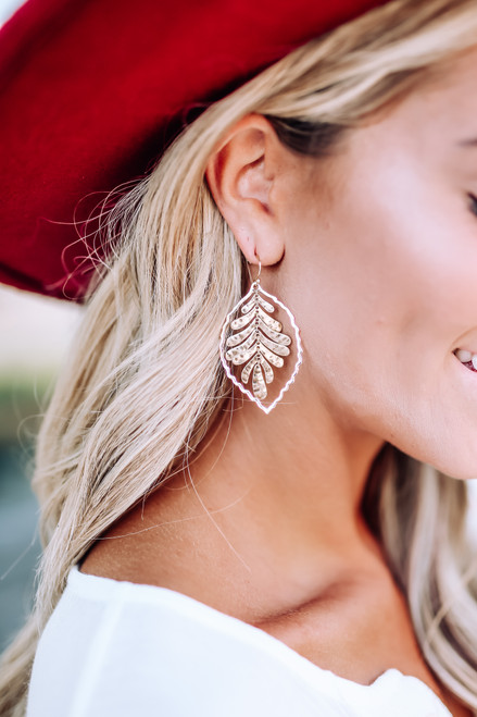 Textured Leaf Earrings - Gold