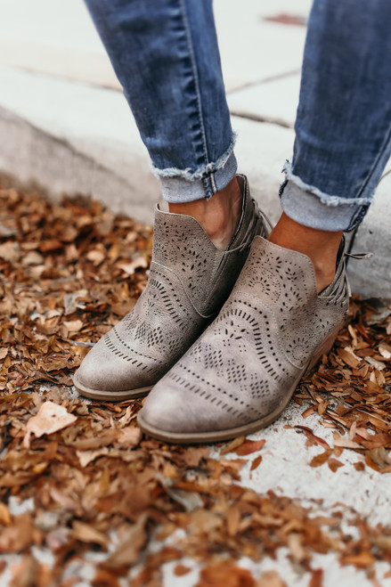Laser Cutout Ankle Booties - Grey