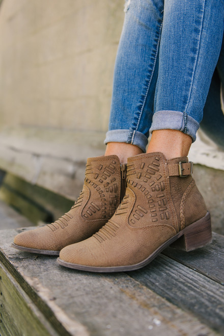 Tribal Cowboy Booties - Tan - FINAL SALE