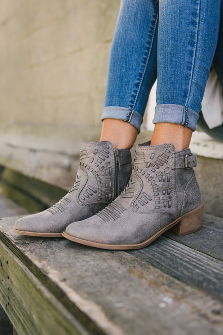 Tribal Cowboy Booties - Grey - FINAL SALE
