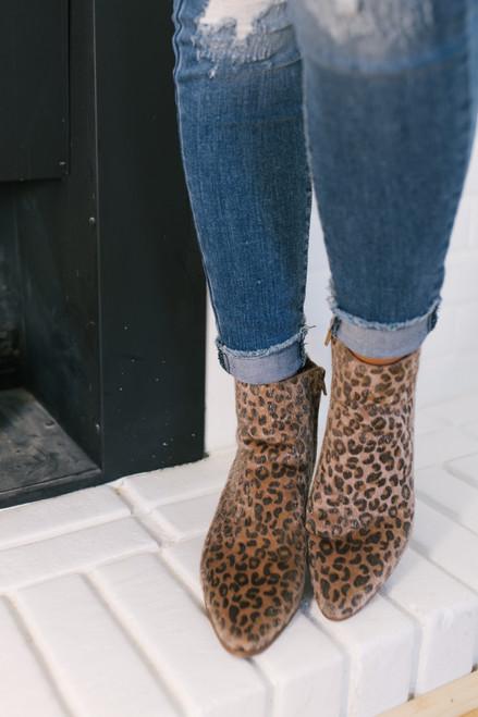 Faux Fur Leopard Booties - Beige