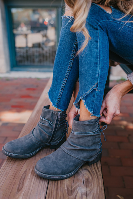 Bruno Lace Up Back Booties - Grey - FINAL SALE