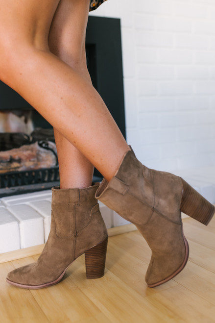 Faux Suede Ankle Booties - Taupe - FINAL SALE