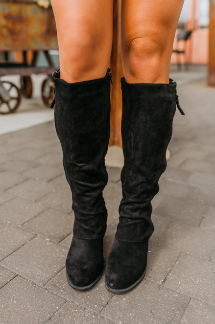 Faux Suede Strips Galore Boots - Black