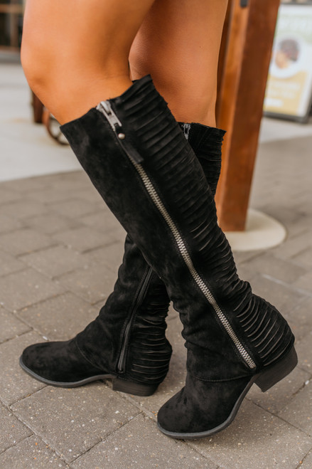 Faux Suede Strips Galore Boots - Black