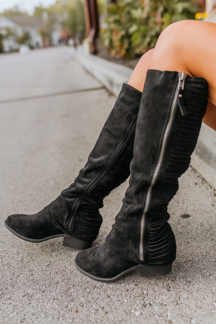Faux Suede Strips Galore Boots - Black - FINAL SALE