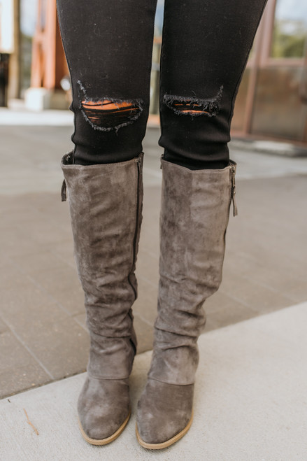 Faux Suede Strips Galore Boots - Grey