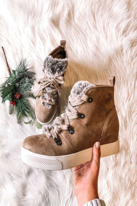 Faux Fur Wedge Sneakers - Taupe
