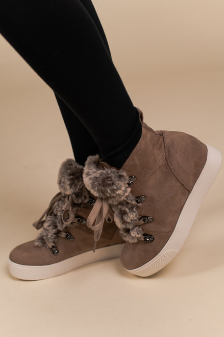 Faux Fur Wedge Sneakers - Taupe - FINAL SALE