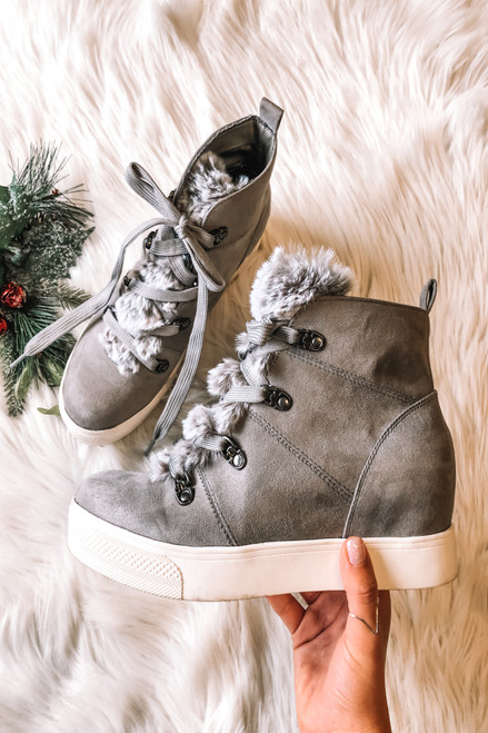 Faux Fur Wedge Sneakers - Grey