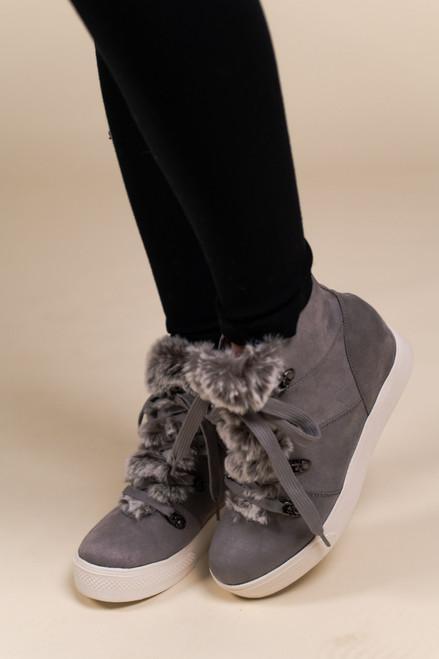 Faux Fur Wedge Sneakers - Grey - FINAL SALE