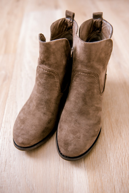 Faux Suede Wedge Booties - Taupe
